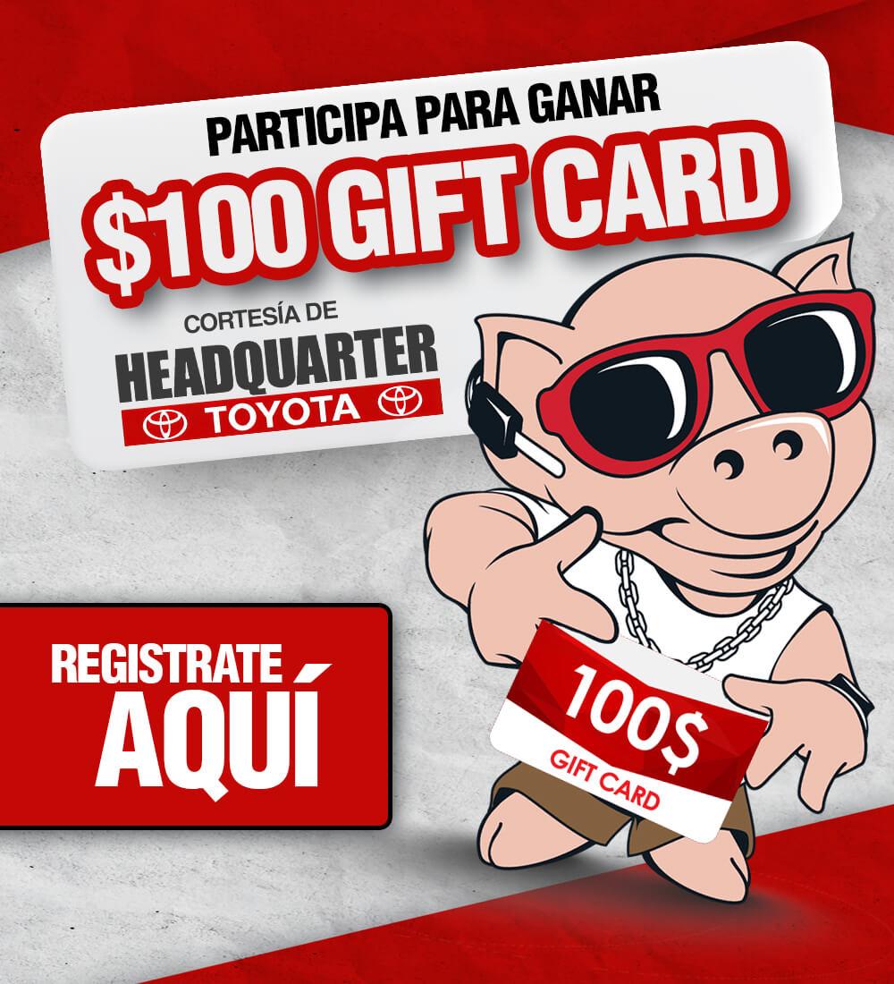 Participa para ganar un gift card de $100
